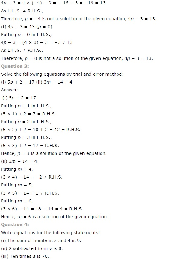 NCERT Solutions for Class 7 Maths Chapter 4 Simple Equations Ex 4.1 Q3