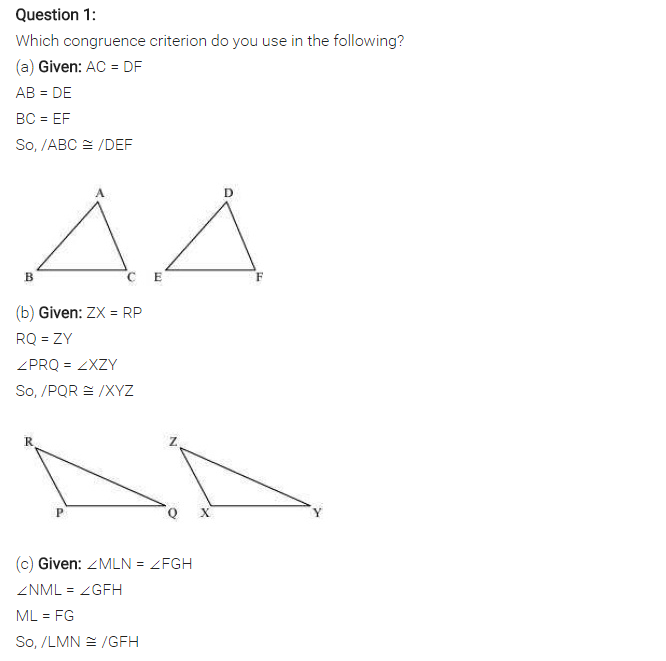NCERT Solutions for Class 7 Maths Chapter 7 Congruence of Triangles Ex 7.2 Q1