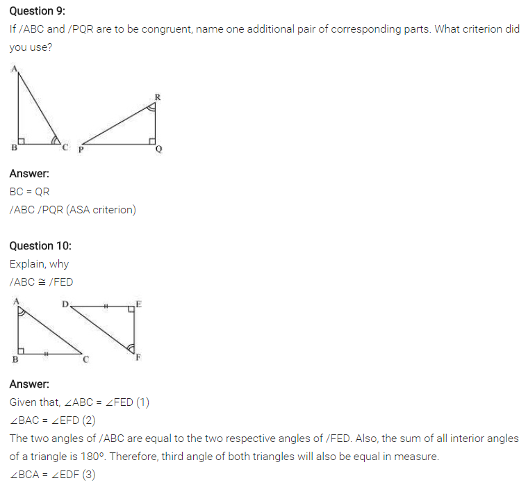NCERT Solutions for Class 7 Maths Chapter 7 Congruence of Triangles Ex 7.2 Q9