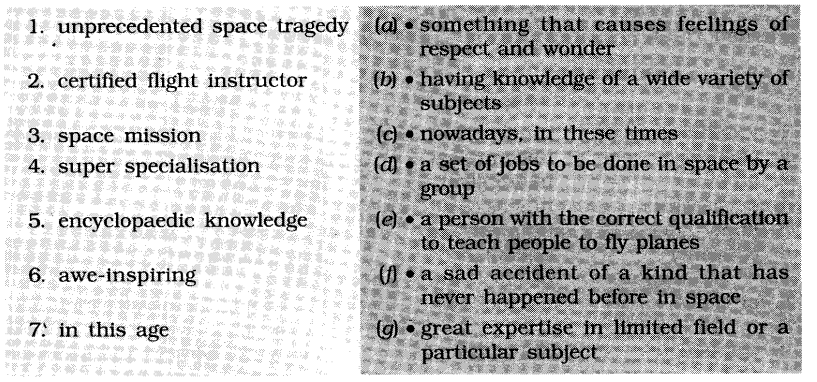NCERT Solutions for Class 6 English Chapter 4 An Indian American Woman in Space Working with Language 1