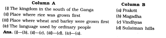 NCERT Solutions for Class 6 Social Science History Chapter 1 What, Where, How and When Matching Skills
