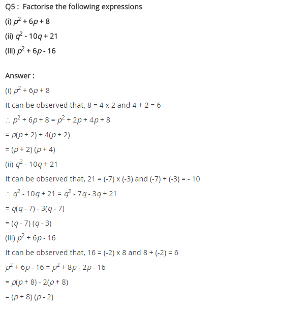 NCERT Solutions for Class 8 Maths Chapter 14 Factorisation Ex 14.2 Q5