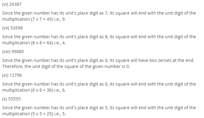NCERT Solutions for Class 8 Maths Chapter 6 Squares and Square Roots Ex 6.1 Q1.1