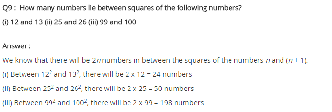 NCERT Solutions for Class 8 Maths Chapter 6 Squares and Square Roots Ex 6.1 Q9