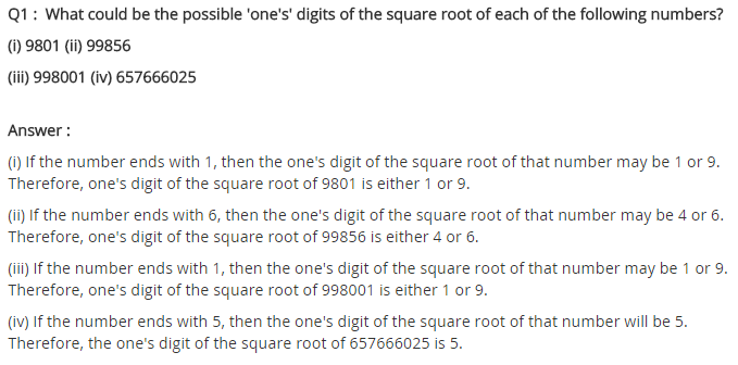 NCERT Solutions for Class 8 Maths Chapter 6 Squares and Square Roots Ex 6.3 Q1