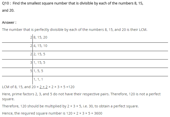 NCERT Solutions for Class 8 Maths Chapter 6 Squares and Square Roots Ex 6.3 Q10