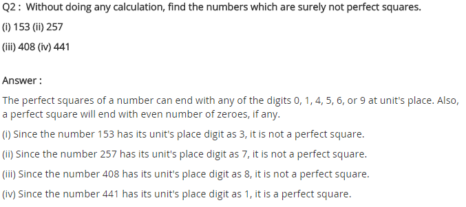 NCERT Solutions for Class 8 Maths Chapter 6 Squares and Square Roots Ex 6.3 Q2