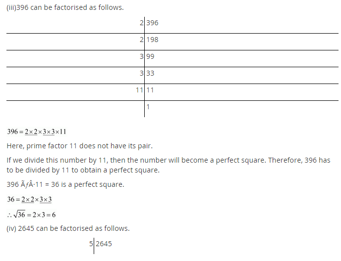 NCERT Solutions for Class 8 Maths Chapter 6 Squares and Square Roots Ex 6.3 Q6.1