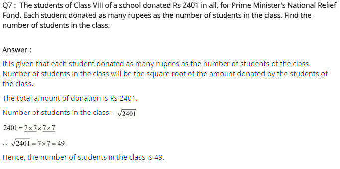 NCERT Solutions for Class 8 Maths Chapter 6 Squares and Square Roots Ex 6.3 Q7