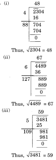 NCERT Solutions for Class 8 Maths Chapter 6 Squares and Square Roots Ex 6.4 Q1