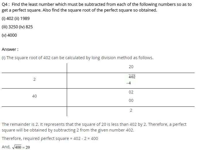 NCERT Solutions for Class 8 Maths Chapter 6 Squares and Square Roots Ex 6.4 q-4
