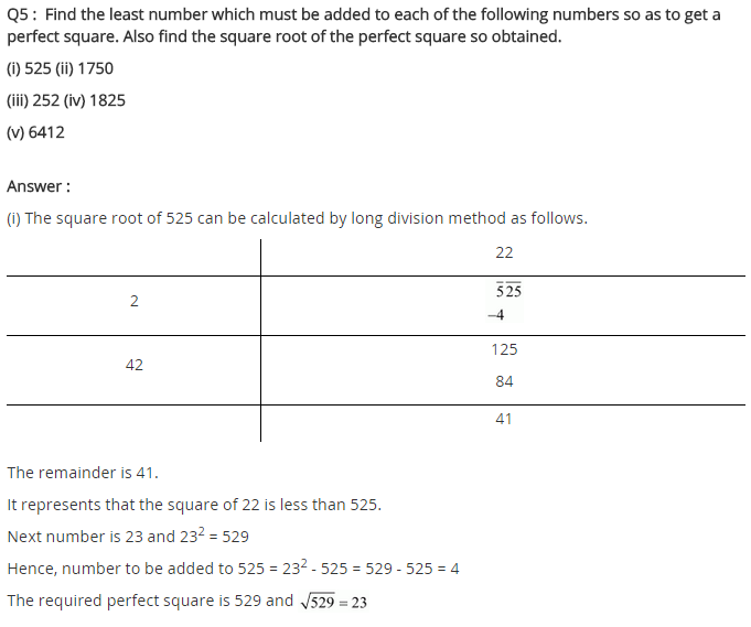 NCERT Solutions for Class 8 Maths Chapter 6 Squares and Square Roots Ex 6.4 q-5