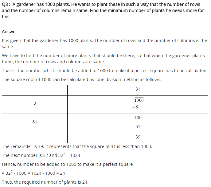 NCERT Solutions for Class 8 Maths Chapter 6 Squares and Square Roots Ex 6.4 q-8