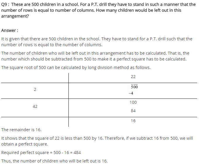 NCERT Solutions for Class 8 Maths Chapter 6 Squares and Square Roots Ex 6.4 q-9
