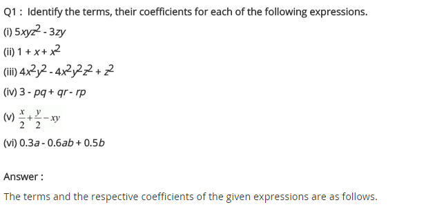 NCERT Solutions for Class 8 Maths Chapter 9 Algebraic Expressions and Identities Ex 9.1 q-1