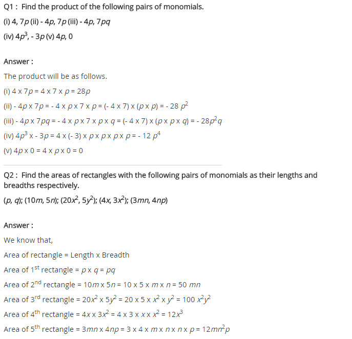 NCERT Solutions for Class 8 Maths Chapter 9 Algebraic Expressions and Identities Ex 9.2 q-1, q-2