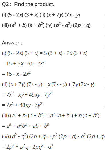 NCERT Solutions for Class 8 Maths Chapter 9 Algebraic Expressions and Identities Ex 9.4 q-2