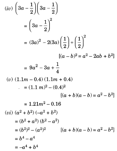 NCERT Solutions for Class 8 Maths Chapter 9 Algebraic Expressions and Identities Ex 9.5 Q1.1