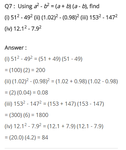 NCERT Solutions for Class 8 Maths Chapter 9 Algebraic Expressions and Identities Ex 9.5 q-7
