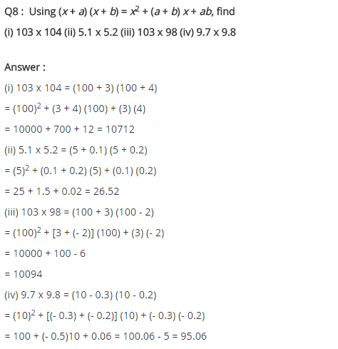 NCERT Solutions for Class 8 Maths Chapter 9 Algebraic Expressions and Identities Ex 9.5 q-8