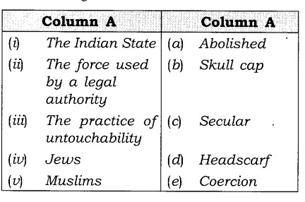 NCERT Solutions for Class 8 Social Science Civics Chapter 2 Understanding Secularism Matching Skills Q1