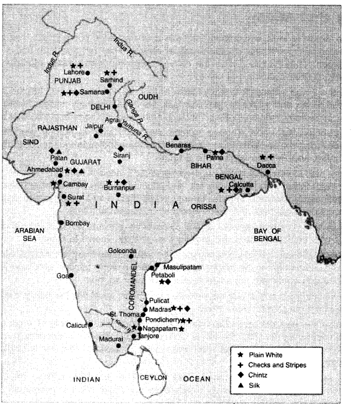 NCERT Solutions for Class 8 Social Science History Chapter 7 Weavers, Iron Smelters and Factory Owners Map Skills Q1