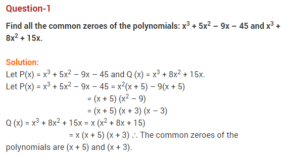 Polynomials Class 10 Extra Questions Maths Chapter 2 Q1