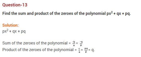 Polynomials Class 10 Extra Questions Maths Chapter 2 Q13