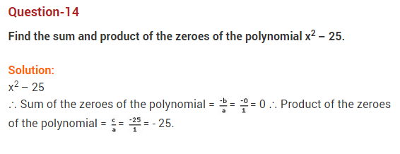 Polynomials Class 10 Extra Questions Maths Chapter 2 Q14