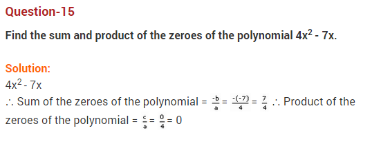 Polynomials Class 10 Extra Questions Maths Chapter 2 Q15