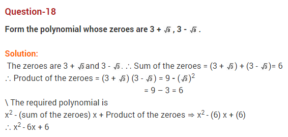 Polynomials Class 10 Extra Questions Maths Chapter 2 Q18