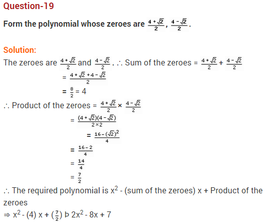 Polynomials Class 10 Extra Questions Maths Chapter 2 Q19