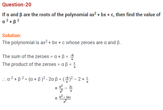 Polynomials Class 10 Extra Questions Maths Chapter 2 Q20