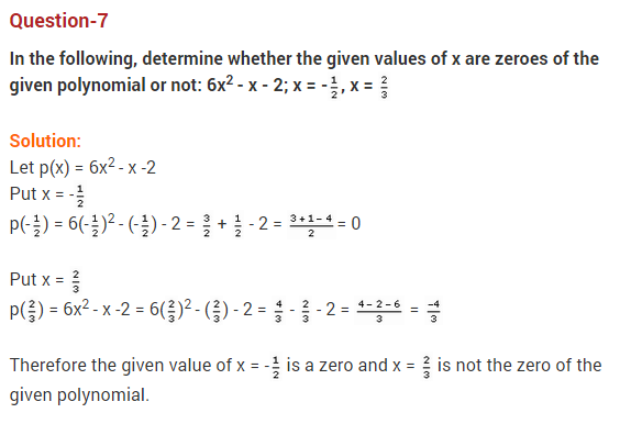 Polynomials Class 10 Extra Questions Maths Chapter 2 Q7