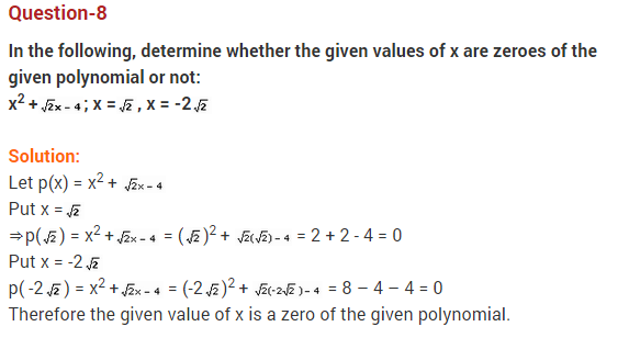 Polynomials Class 10 Extra Questions Maths Chapter 2 Q8