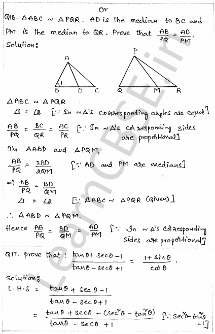 Solved CBSE Sample Papers for Class 10 Maths Paper 1 12
