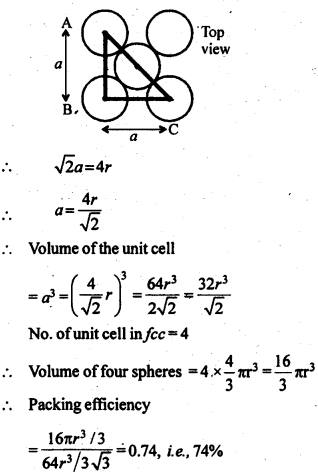 NCERT Solutions For Class 12 Chemistry Chapter 1 The Solid State Exercises Q10.2