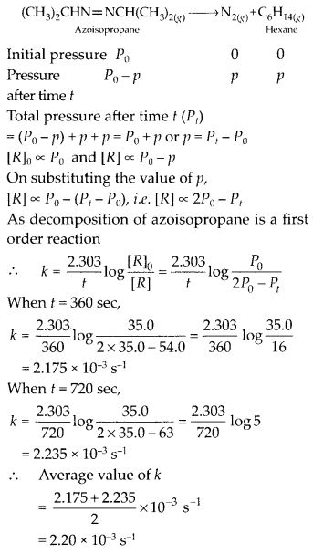 NCERT Solutions For Class 12 Chemistry Chapter 4 Chemical Kinetics Exercises Q20.1