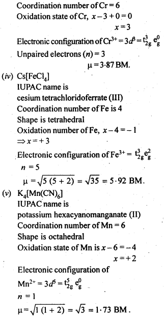 NCERT Solutions For Class 12 Chemistry Chapter 9 Coordination Compounds Exercises Q24