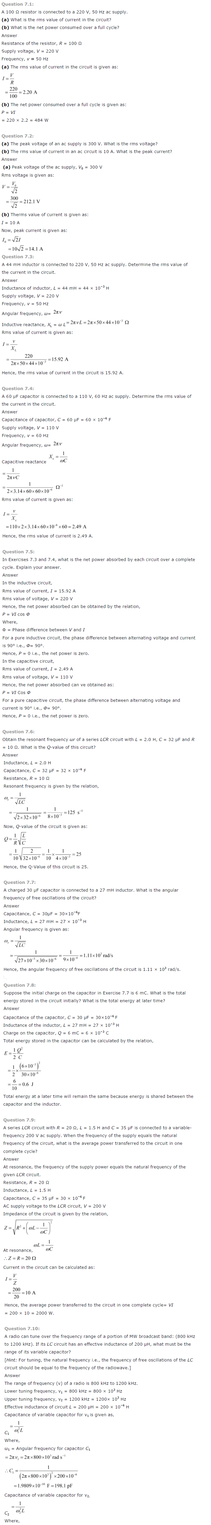 NCERT Class 12th Physics Solutions Chapter 7 Alternating Current 1