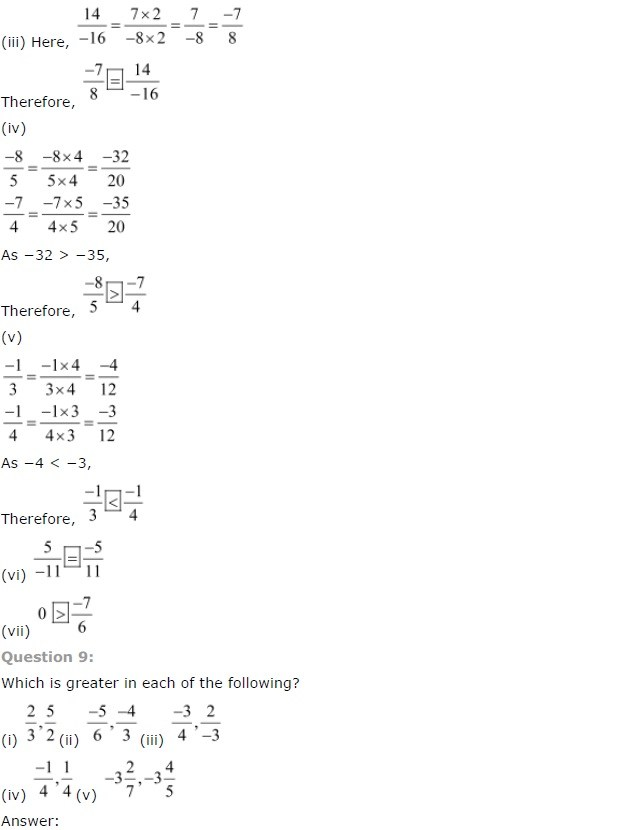 NCERT Solutions for Class 7 Maths Chapter 9 Rational Numbers Ex 9.1 Q9