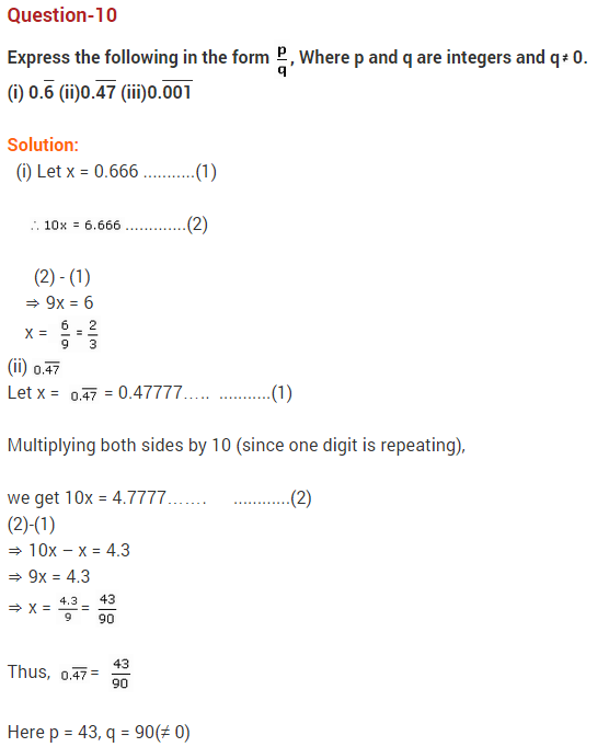 NCERT Solutions for Class 9 Maths Chapter 1 Number Systems Ex 1.3 q10