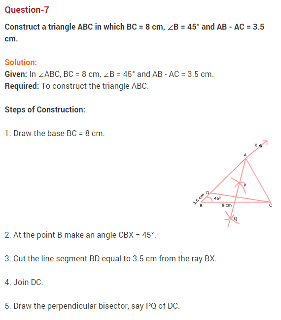 NCERT Solutions for Class 9 Maths Chapter 11 Constructions Ex 11.2 Q7