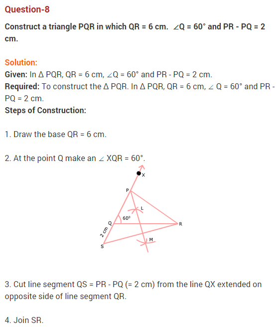NCERT Solutions for Class 9 Maths Chapter 11 Constructions Ex 11.2 Q8