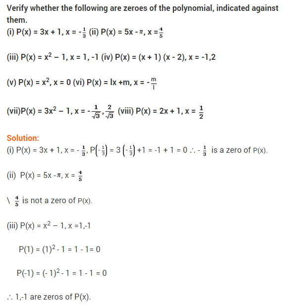 NCERT Solutions for Class 9 Maths Chapter 2 Polynomials Ex 2.2 Q8