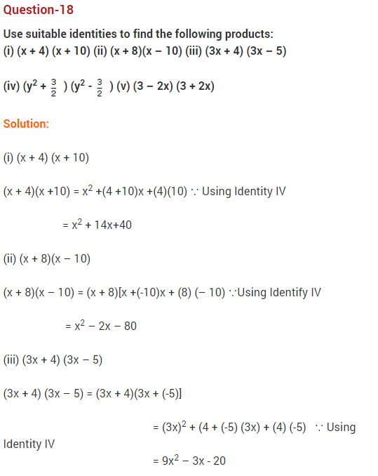 NCERT Solutions for Class 9 Maths Chapter 2 Polynomials Ex 2.5 q1