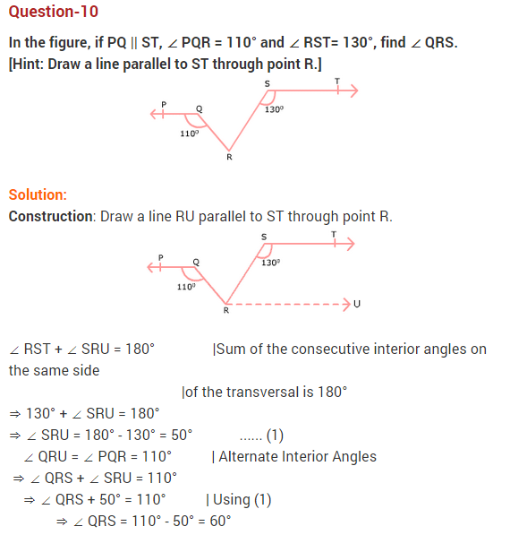 NCERT Solutions for Class 9 Maths Chapter 6 Lines and Angles Ex 6.2 Q10