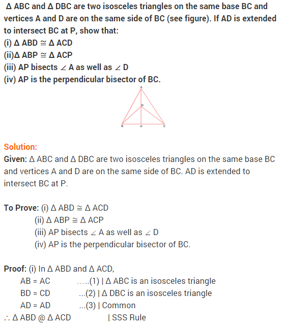 NCERT Solutions for Class 9 Maths Chapter 7 Triangles Ex 7.3 q1
