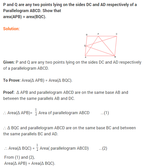 NCERT Solutions for Class 9 Maths Chapter 9 Areas of Parallelograms and Triangles Ex 9.2 A3