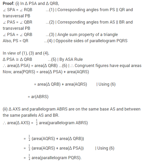 NCERT Solutions for Class 9 Maths Chapter 9 Areas of Parallelograms and Triangles Ex 9.2 A5.1